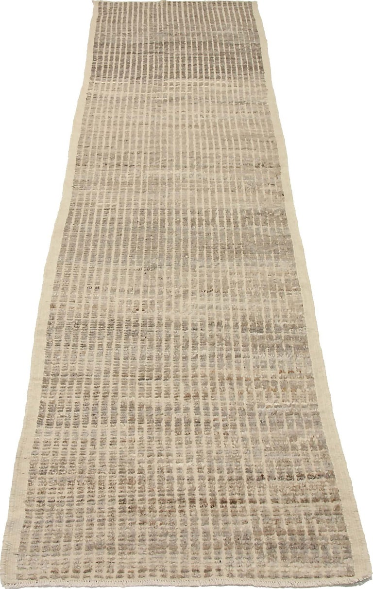 Contemporary Nazmiyal Collection Beige Modern Distressed Runner. 3 ft 3 in x 12 ft 1 in  For Sale