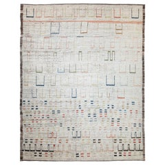 Nazmiyal Collection Beige Modern Moroccan Style Rug 9 ft 3 in x 11 ft 4 in