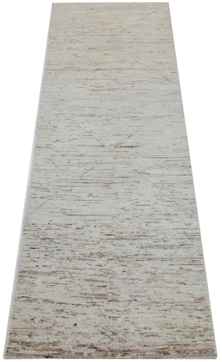 Nazmiyal Collection Beige Modern Moroccan Style Runner Rug 2 ft 5 in x 9 ft 8 in In New Condition For Sale In New York, NY