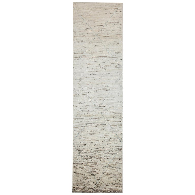 Nazmiyal Collection Beige Modern Moroccan Style Runner Rug 2 ft 5 in x 9 ft 8 in For Sale