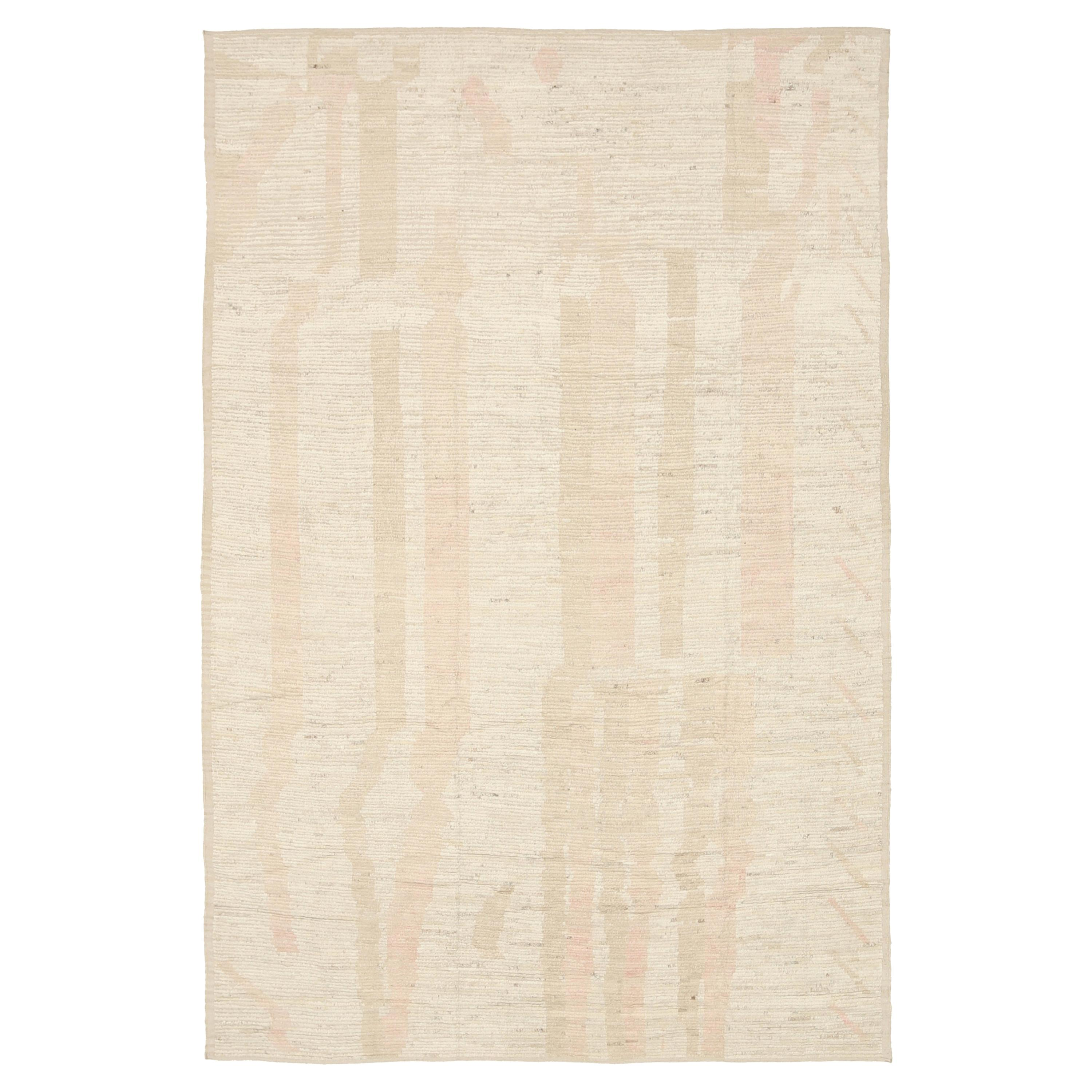 Nazmiyal Collection Beige Orange Modern Distressed Rug. 8 ft 9 in x 12 ft 8 in