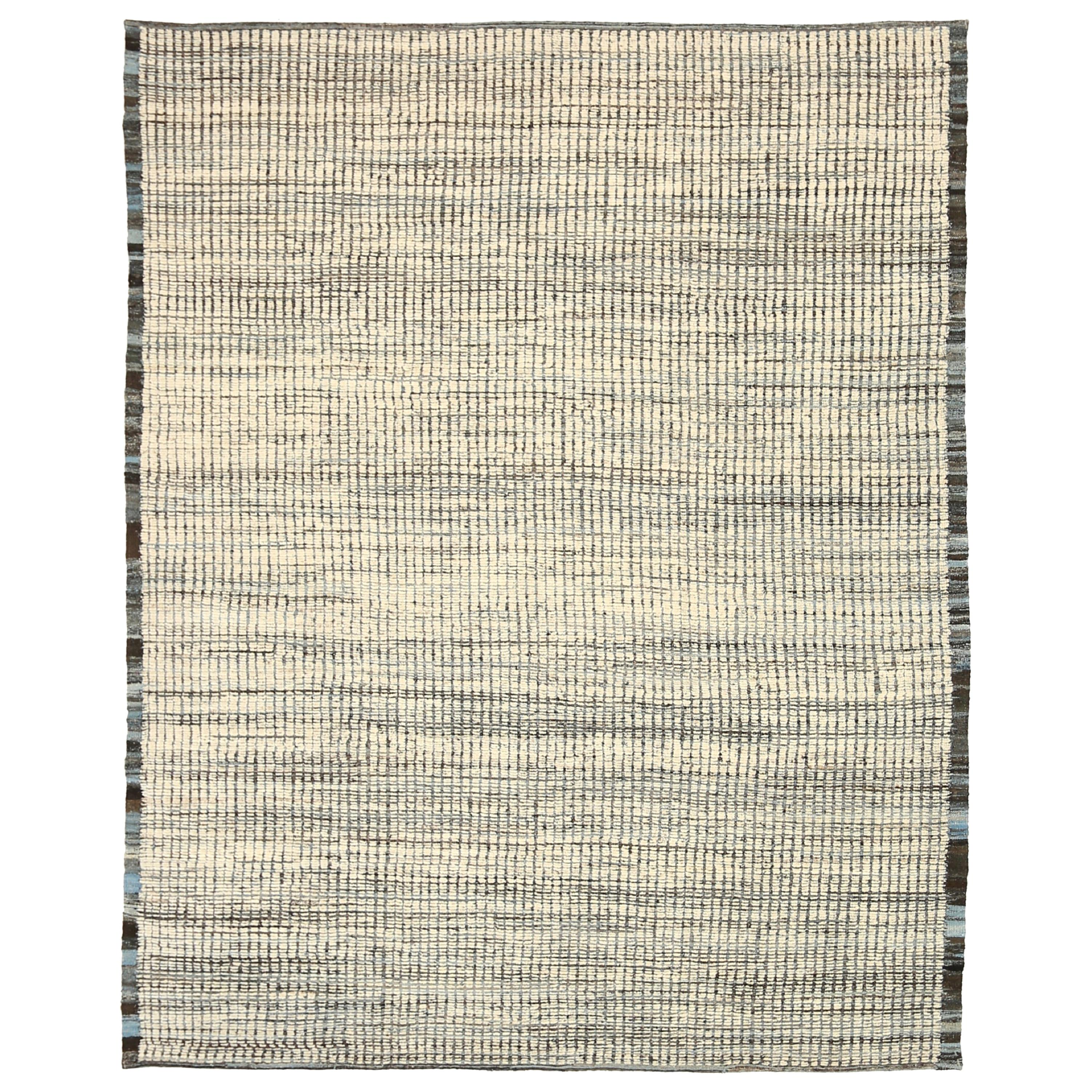 Nazmiyal Collection Beige Textured Modern Distressed Rug. 9 ft 8 in x 12 ft
