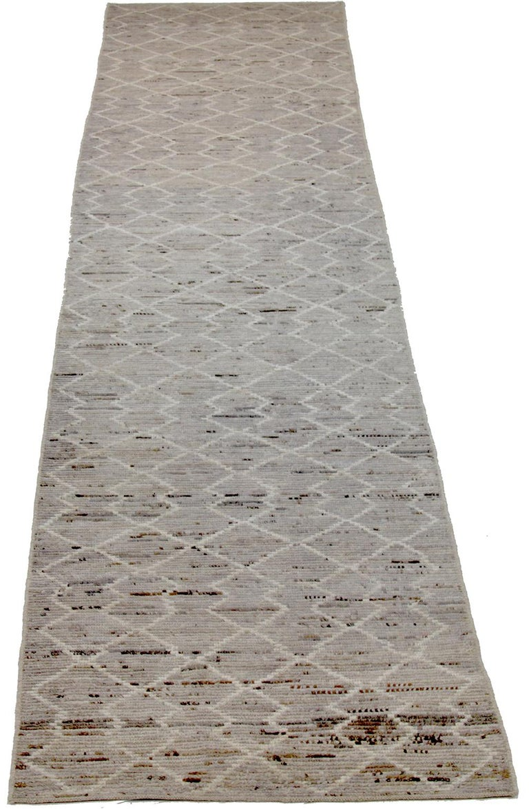 Contemporary Nazmiyal Collection Beige Tribal Modern Moroccan Style Runner Rug 3ft 4 in x 16f For Sale
