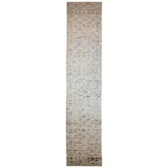 Nazmiyal Collection Beige Tribal Modern Moroccan Style Runner Rug 3ft 4 in x 16f