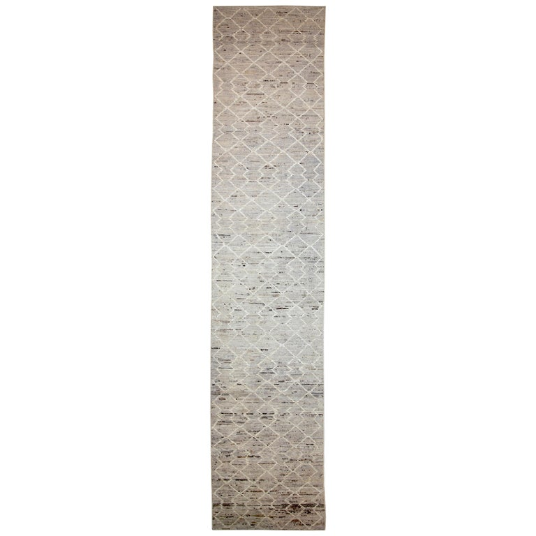 Nazmiyal Collection Beige Tribal Modern Moroccan Style Runner Rug 3ft 4 in x 16f For Sale