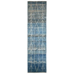 Nazmiyal Collection Berber Blue Modern Moroccan Style Runner Rug 4ft 2 in x 16ft