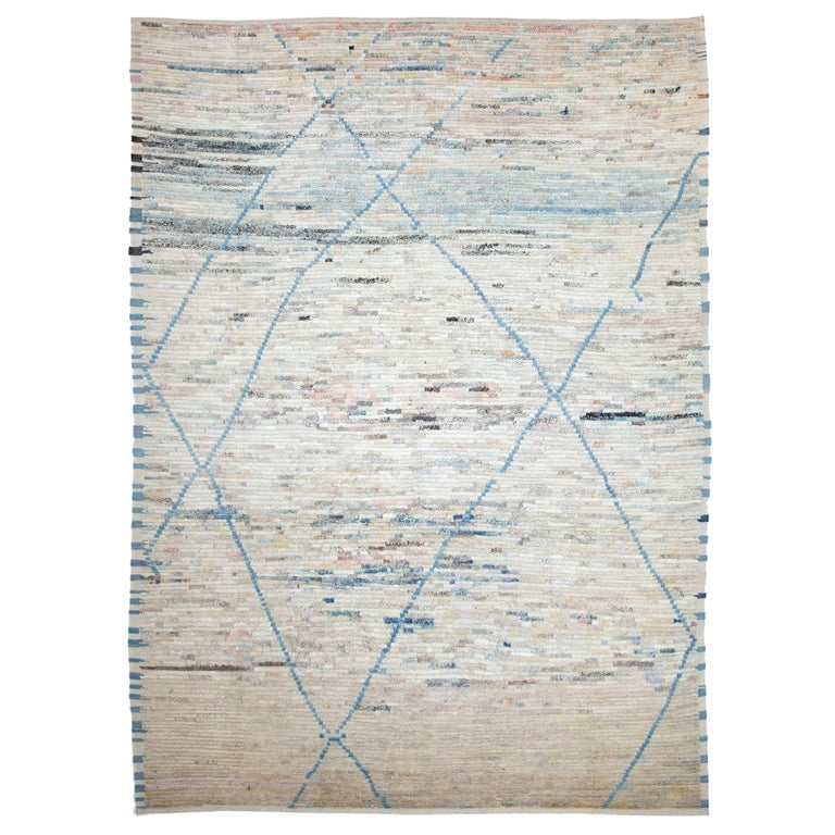 Nazmiyal Collection Berber Design Modern Moroccan Style Rug 9 ft 1 in x 12 ft For Sale