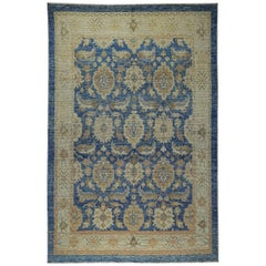 Nazmiyal Collection Blue and Gold Modern Turkish Oushak Rug 6 ft 5in x 9 ft 8in