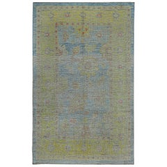 Nazmiyal Collection Blue Background Modern Turkish Oushak Rug 6ft 2in x 9ft 9in