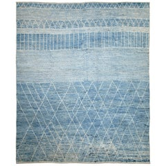 Nazmiyal Collection Blue Modern Moroccan Style Rug. 10 ft 4 in x 12 ft 6 in