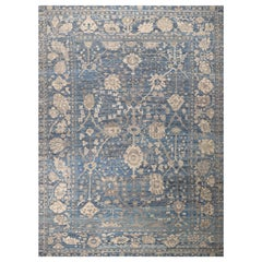 Nazmiyal Collection Blue Modern Turkish Oushak Rug 10 ft 2 in x 13 ft 8 in