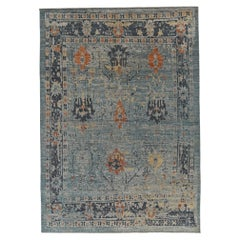 Nazmiyal Collection Blue Modern Turkish Oushak Rug 10 ft 6 in x 14 ft 2 in