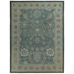 Nazmiyal Collection Blue Modern Turkish Oushak Rug 13 ft 10 in x 14 ft 10 in