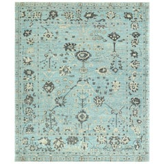 Nazmiyal Collection Blue Modern Turkish Oushak Rug 8 ft 4 in x 9 ft 10 in