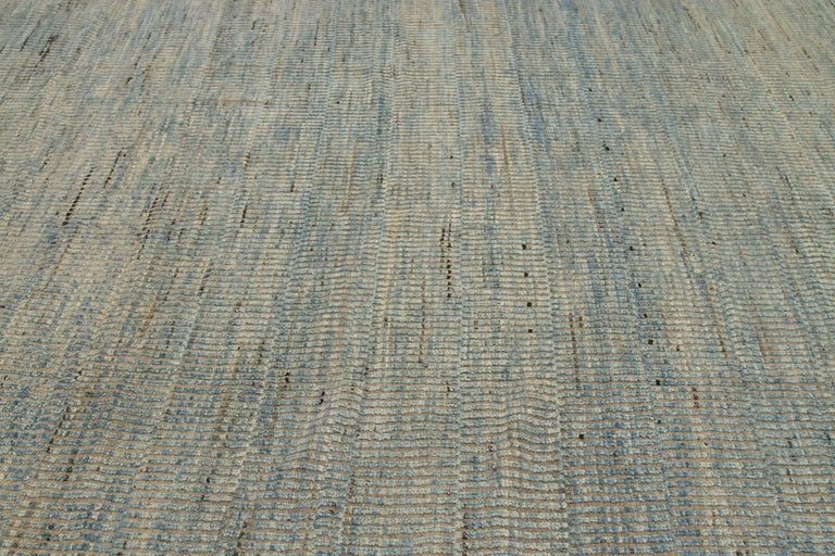 Beautiful Blue Beige Textured Modern Distressed Rug, Country of Origin: Afghanistan,Circa date: Modern. Size: 9 ft 8 in x 11 ft 8 in (2.94m x 3.55m)