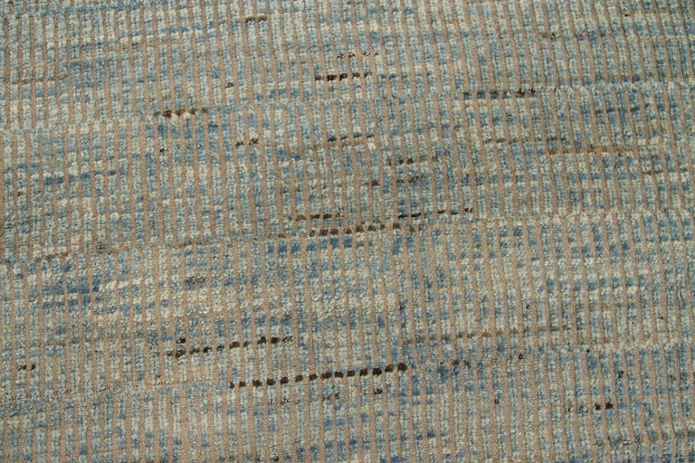 Hand-Knotted Nazmiyal Collection Blue Textured Modern Distressed Rug. 9 ft 8 in x 11 ft 8 in For Sale