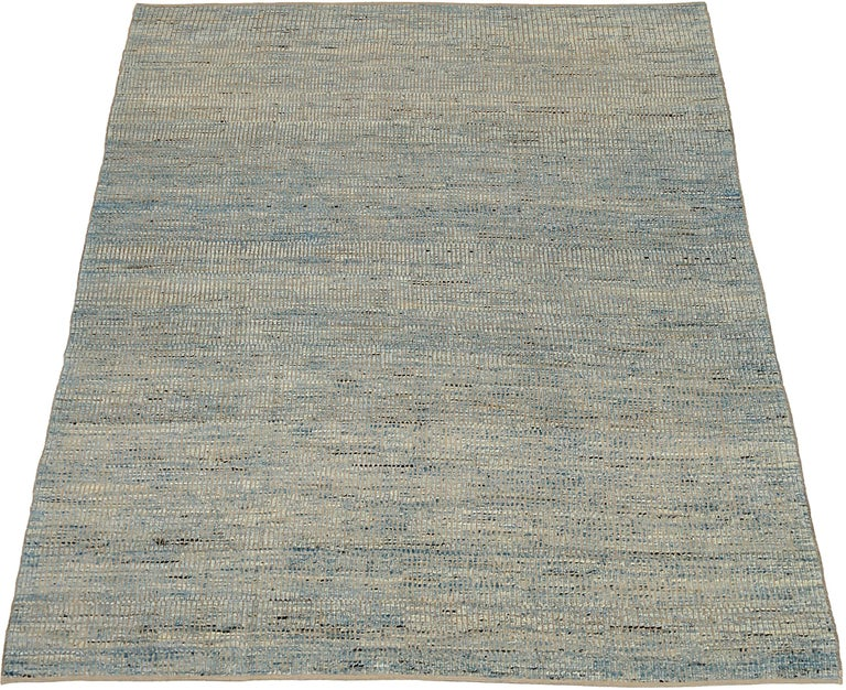 Contemporary Nazmiyal Collection Blue Textured Modern Distressed Rug. 9 ft 8 in x 11 ft 8 in For Sale