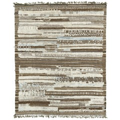 Nazmiyal Collection Brown And Blue Modern Distressed Rug 7 ft 8 in x 9 ft 7 in