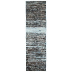 Nazmiyal Collection Brown and Blue Modern Moroccan Style Rug 2 ft 9in x 9 ft 9in