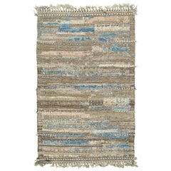 Nazmiyal Collection Brown Blue Modern Distressed Rug 3 ft 9 in x 6 ft