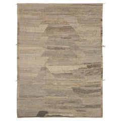 Nazmiyal Collection Brown Geometric Modern Distressed Rug. 9 ft 2 in x 12 ft 1in
