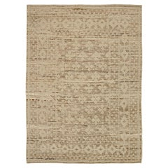 Nazmiyal Collection Brown Geometric Modern Distressed Rug. 9 ft 5 in x 12 ft 5in