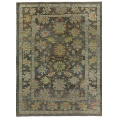 Nazmiyal Collection Brown Green Modern Turkish Oushak Rug 8 ft 3 in x 10 ft 8 in