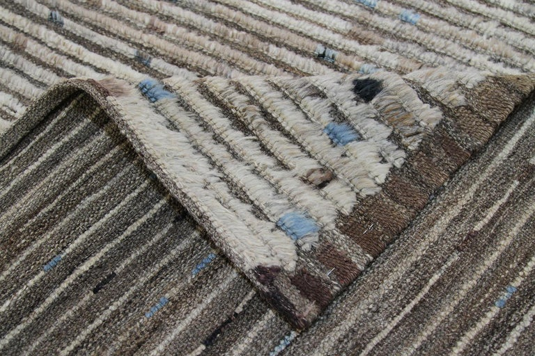 Nazmiyal Collection Brown Modern Moroccan Style Runner Rug 3 ft 2 in x 9 ft 3 in In New Condition For Sale In New York, NY