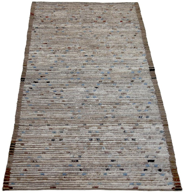 Contemporary Nazmiyal Collection Brown Modern Moroccan Style Runner Rug 3 ft 2 in x 9 ft 3 in For Sale