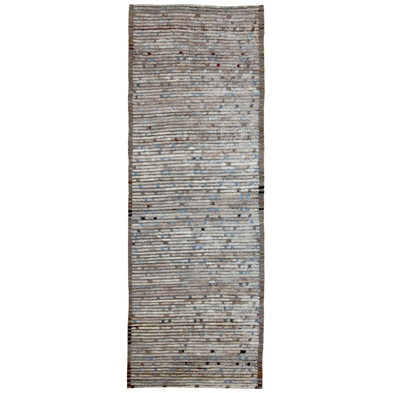 Nazmiyal Collection Brown Modern Moroccan Style Runner Rug 3 ft 2 in x 9 ft 3 in For Sale