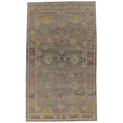 Nazmiyal Collection Brown Modern Turkish Oushak Area Rug 11 ft 5 in x 19 ft 5 in