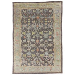 Nazmiyal Collection Brown Modern Turkish Oushak Rug 10 ft 1 in x 14 ft 6 in