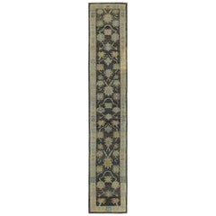 Nazmiyal Collection Charcoal Background Turkish Oushak Runner 3ft 3in x 18ft 7in