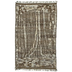 Nazmiyal Collection Charcoal Brown Modern Distressed Rug 4 ft 11 in x 7 ft 10 in