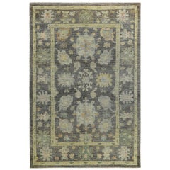 Nazmiyal Collection Charcoal Grey Modern Turkish Oushak Rug 7 ft x 10 ft 5 in