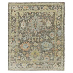Nazmiyal Collection Charcoal Modern Turkish Oushak Ru 10 ft 4 in x 12 ft 5 in