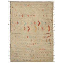 Nazmiyal Collection Colorful Geometric Modern Distressed Rug. 10 ft 2 in x 14 ft