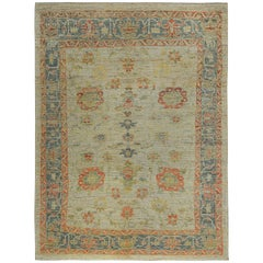 Nazmiyal Collection Colorful Modern Oushak Turkish Rug 6 ft 9 in x 8 ft 10 in