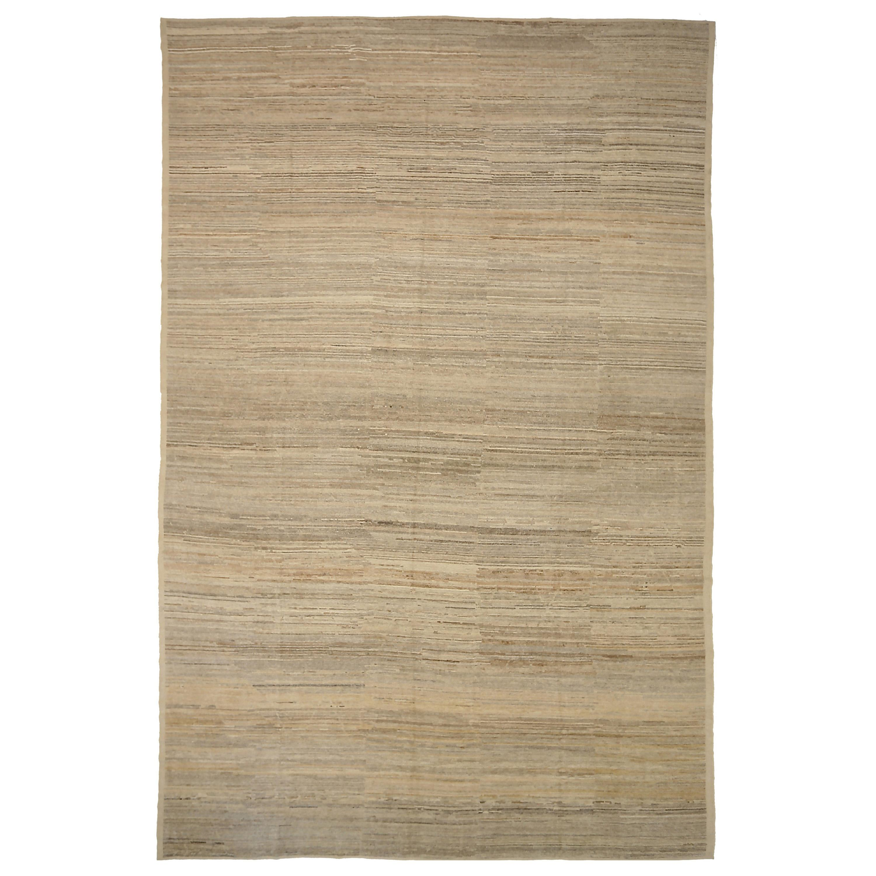 Nazmiyal Collection Coral Beige Modern Distressed Rug. 12 ft 4 in x 18 ft 3 in