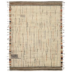 Nazmiyal Collection Cream Geometric Modern Distressed Rug. 9 ft 6 in x 12 ft 3in
