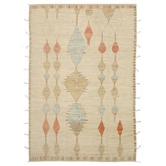 Nazmiyal Collection Cream Geometric Modern Moroccan Style Rug. 9 ft x 12 ft 6 in