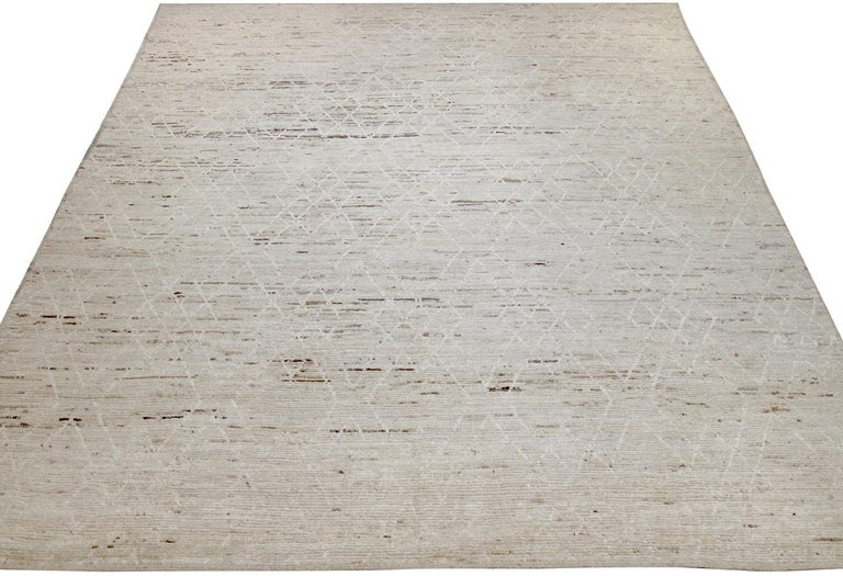 Contemporary Nazmiyal Collection Cream Modern Moroccan Style Rug 10 ft 5 in x 14 ft 1 in For Sale