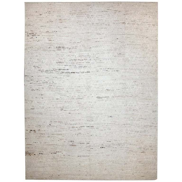 Nazmiyal Collection Cream Modern Moroccan Style Rug 10 ft 5 in x 14 ft 1 in For Sale