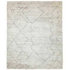 Nazmiyal Collection Cream Modern Moroccan Style Rug 8 ft 3 in x 9 ft 7 in