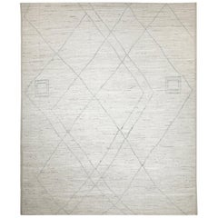 Nazmiyal Collection Cream Modern Moroccan Style Rug. 9 ft 6 in x 11 ft 7 in