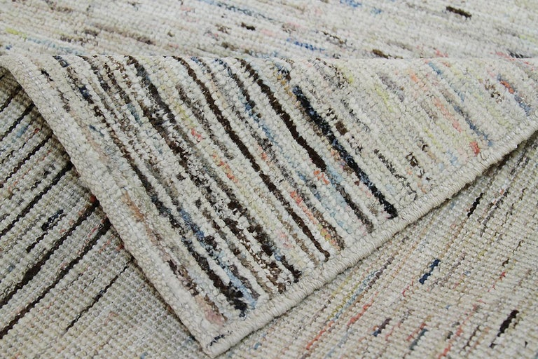 Nazmiyal Collection Cream Modern Moroccan Style Runner Rug 2 ft 8 in x 9 ft 8 in In New Condition For Sale In New York, NY