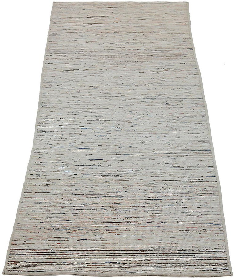 Contemporary Nazmiyal Collection Cream Modern Moroccan Style Runner Rug 2 ft 8 in x 9 ft 8 in For Sale