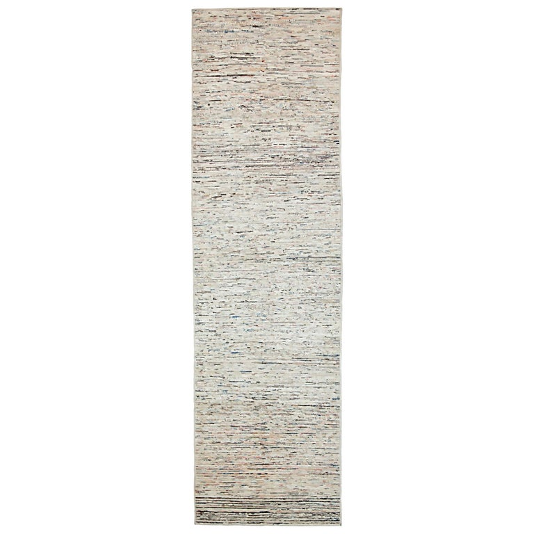 Nazmiyal Collection Cream Modern Moroccan Style Runner Rug 2 ft 8 in x 9 ft 8 in For Sale