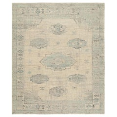 Nazmiyal Collection Decorative Ivory Blue Modern Boutique Rug 12 ft x 15 ft