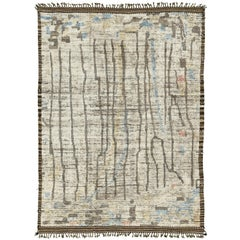 Nazmiyal Collection Decorative Modern Distressed Rug 7 ft 4 in x 10 ft 2 in